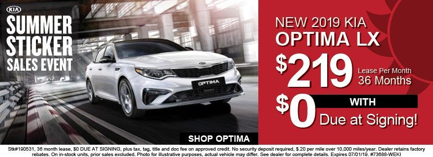 2019 Kia Optima 219 Per Month Lease
